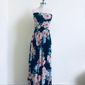 ea20d1141114a saved by the dress. Strapless Maxi Flowered Dress